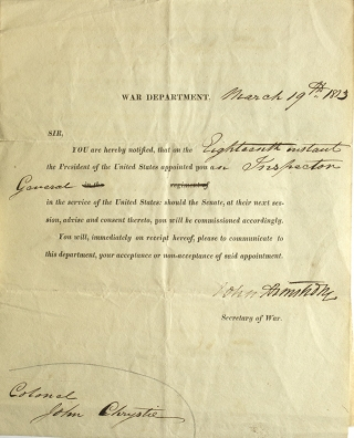 "Partially printed document signed (""John Armstrong"") as Secretary of War, appointing Colonel John..."