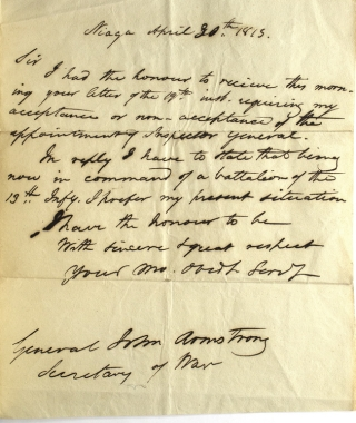 """Partially printed document signed (""""John Armstrong"""") as Secretary of War, appointing Colonel John Chrystie an Inspector General, with a draft of his reply declining the appointment"""