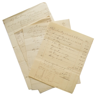 Papers of Shipments and Accounts Paid of the Ship Ann Parry. Including payment to Captain Kinnard...