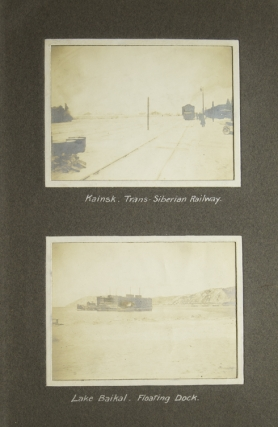 Bound volume containing 48 original photographs of mining activities in northern China, and transport there on the Trans-Siberian Railroad and through Manchuria