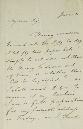 ALS. To Collector William Upcott. About money, etc. Thomas F. Dibdin.