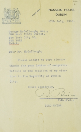 TLS. To Mrs McCullough. Robert Briscoe.