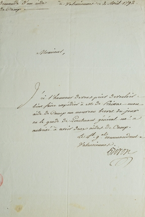 """Autograph letter signed (""""Biron"""") ordering the expedition of the appointment of his aide-de-camp"""