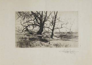 Etching with surface tone: Two Trees Winter Landscape with Trees. Stephen Parrish