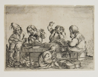 "Etching: ""Musical Dwarfs"" 5 dwarfs playing instruents and singing. Dwarfs, unknown Artist."