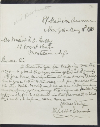 Autograph Letter, Signed. About Robert Emmet. Ireland, Thomas Addis Emmet.