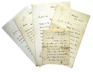 5 Autograph Letters, Signed. to various recipients. Some interesting thoughts on our Civil War....