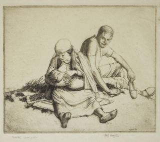 Etching: Wayside Family. Robert Sargent Austin.