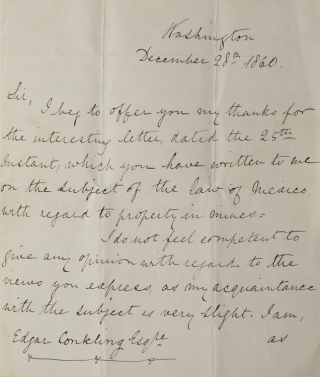 ALS. To Edgar Conkling Esq. About his lack of knowledge about the law of Mexico with regard to property in mines. Lord Lyons.