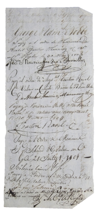 Treasury document signed remitting £250 to Messrs. George and Edward Noble. Alexander John Ball,...