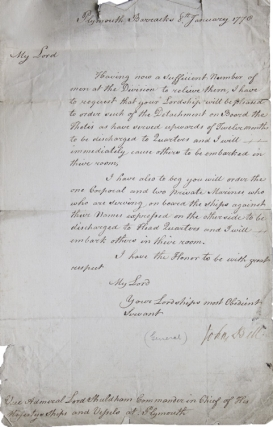Letter signed to Vice Admiral Shuldham. John Bell, Lieutenant General.