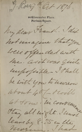 "ALS. To Frank. About ""Headless"" Rose, George, pseud. 'Arthur Sketchley'"