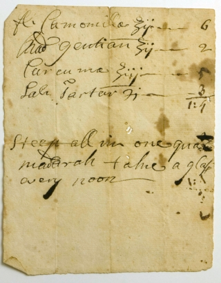 "Autograph Document, Signed (""E. A. Holyoke""), and Manuscript Medical Prescription"