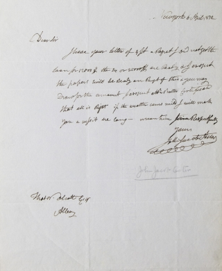 ALS. To Thomas W. Olcott. About a loan. John Jacob Astor.