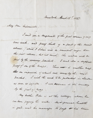 "Autograph Letter Signed (""Washington Irving""), to Col. Thomas Aspinwall, his literary agent and the American Consul in London"