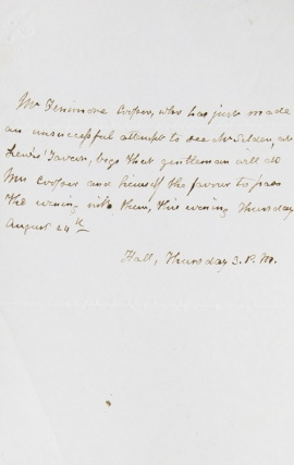 "Autograph Note Signed in the third person (""Mr. Fenimore Cooper""), to a Mr. Selden. James Fenimore Cooper."