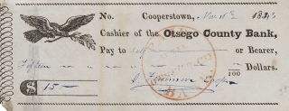 "Check Signed (""J. Fenimore Cooper""), made out to ""Self"" in the amount of $15. James Fenimore Cooper."