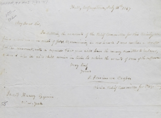 "Autograph Letter Signed (""J. Fenimore Cooper"") as Chairman of Relief Committee for Otsego County to Jacob Harvey. James Fenimore Cooper."