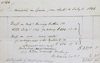 """Autograph Receipt of due salary in the hand of Washington Irving """"Minister in Spain from April 1 to July 1 1844"""""""