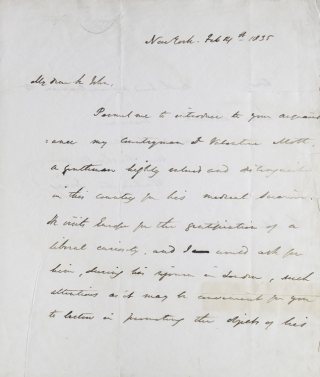 ALS. To Sir John (William) Lubbock, the Head of Lubbock & Co. A Letter of Introduction for Dr. Valentine Mott, famous American Doctor. Washington Irving.