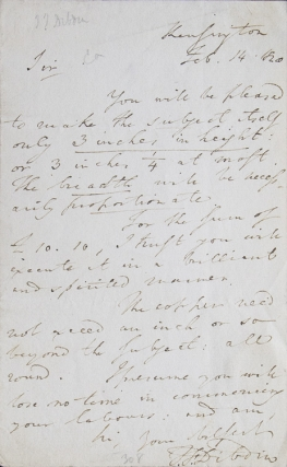 ALS. To Mr. Alfred Robert Freebairn (1794-1846) about an engraving or painting to be produced with dimensions of 3 x 3-1/4 inches and cost of £10.10. Thomas Frognall Dibdin.
