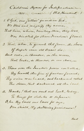 "Manuscript, Signed of ""Children's Hymn for Independence 1850...(Old Hundred)"" Fair Copy. John..."
