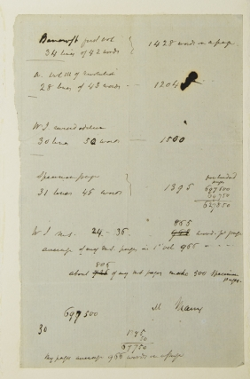 Manuscript sheet of book-keeping, possibly for Irving's Life of George Washington. Washington Irving.