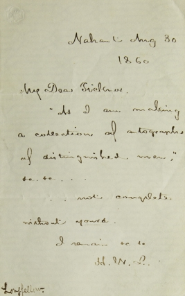 Autograph Letter, Signed. To His Publisher Ticknor. Henry Wadsworth Longfellow
