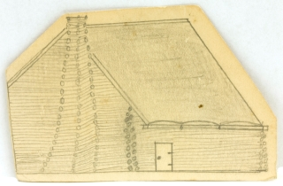 Sketch of Winter Quarters captioned and signed on the rear. Civil War, Lieutenant William H. Wyker.
