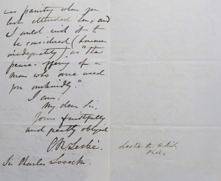 ALS. To Sir Charles Locock, obstretician to Queen Victoria. Asking him to accept an engraving in thanks for attending to Mrs. Leslie