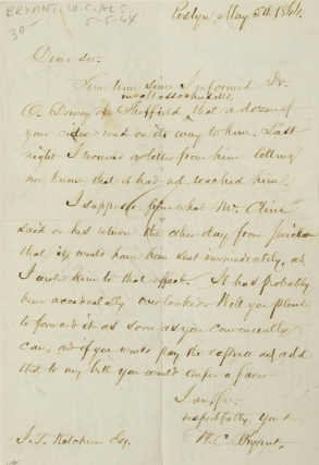 ALS. To J. T. Ketchum. About cider. William Cullen Bryant