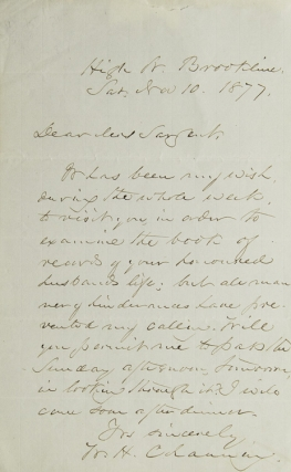 ALS. To Mrs. Sargent. Wishing to visit in order to examine a book of records of her honored...