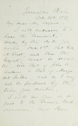 "Autograph Letter, Signed. To Publisher James Osgood about ""Memorials"" James Freeman Clarke"