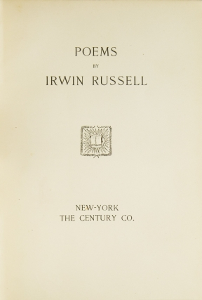 Poems. [Introduction by Joel Chandler Harris.]
