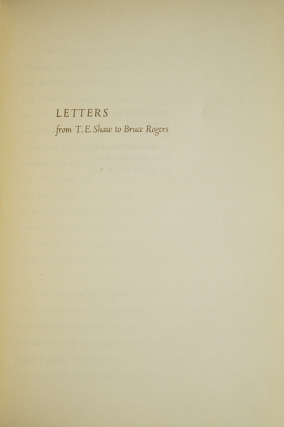 Letters from T.E. Shaw to Bruce Rogers