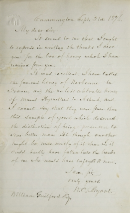 "Autograph Letter Signed (""W.C. Bryant""), to William Guilford. On honey. William Cullen Bryant."
