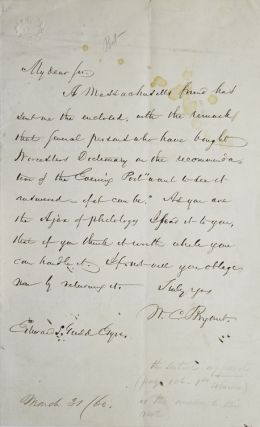 Autograph Letter Signed, to Edward S.[herman] Gould. William Cullen Bryant