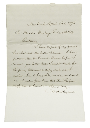"Autograph Letter Signed (""WC Bryant""), to Messrs Darling, Conswold & Co. William Cullen Bryant."