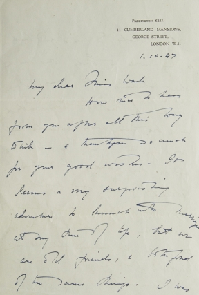 "Autograph Letter, signed (""Freya Stark""), to Miss Wade, discussing Stark's impending marriage and other postwar matters, dated 1.10.47. Freya Stark."
