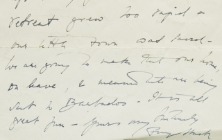 "Autograph Letter, signed (""Freya Stark""), to Miss Wade, discussing Stark's impending marriage and other postwar matters, dated 1.10.47"