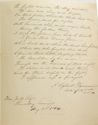 "Autograph Document, Signed, ""J. Egbert Farnum late of the U.S.A."" Being a hand-written poem..."