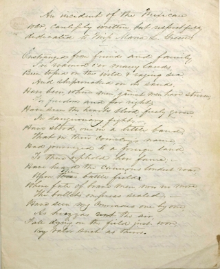 """Autograph Document, Signed, """"J. Egbert Farnum late of the U.S.A."""" Being a hand-written poem relating an incident of the Mexican American War"""