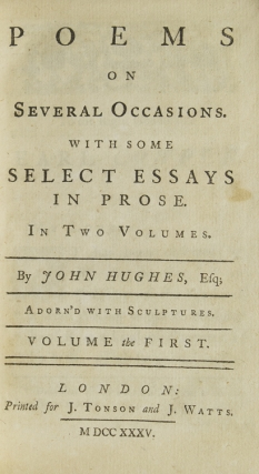 Poems on Several Occasions. With Some Select Essays in Prose
