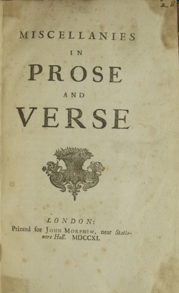 Miscellanies in Prose and Verse. Jonathan Swift.