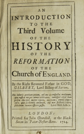 An Introduction to the Third Volume of the History of the Reformation of the Church of England. Gilbert Burnet.