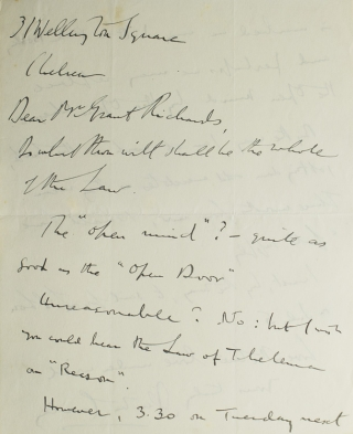 "Autograph Letter Signed (""Aleister Crowley""), to publisher Grant Richards, arranging a meeting and mentioning that he is at work on his memoirs. Aleister Crowley."