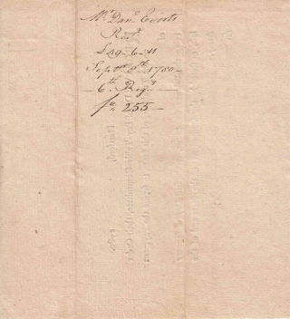 "Autograph Document Receipt, Signed ""Danl Everts"" ""being the balance due to me on the first day of January last, as stated by the Committees of the State and of the Army."""