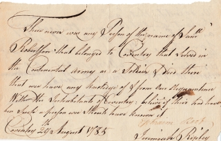 A Group of Two Manuscripts and One Document, Attesting to the Service of Samuel Robinson in the Continental Army and Orders for Payments to be Made to His Estate
