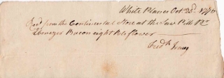 "Autograph Manuscript Receipt, Signed ""Frederick Tracy"" for eight barrels of flour from the..."