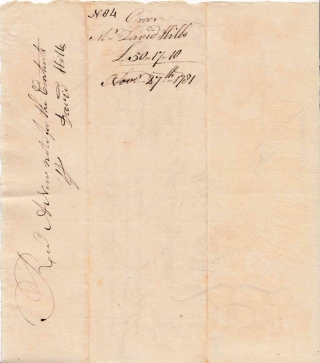 "Autograph Manuscript Order, Signed ""William Moseley"" and ""John Lawrence Esq."" for payment from the State of Connecticut to David Hills for ""Beef Supplies."""